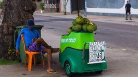 Laid back vendor. Coconut vendor at Porto da Barra - Salvador Stock Image