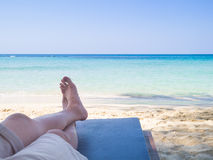 laid on beach bed Stock Photography