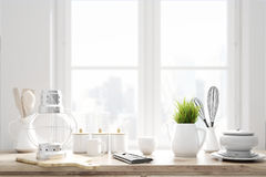 Laid brown kitchen talbe, window. Laid brown kitchen talbe with white kitchenware, utencils and a large window in the background. 3d rendering Stock Photo