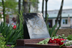 The laid flowers to the monument in honor of a Victory Day on May 9 Stock Photos