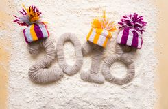 2018 laid out in the snow. 2018 knitted laid out in the snow, happy new year and christmas stock photo