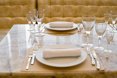 Laid restaurant table Stock Images