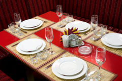 Laid restaurant table Royalty Free Stock Image