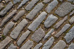 Laid-stone pavement diagonal texture.  Royalty Free Stock Images