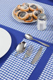Laid table in blue colour Stock Image