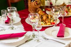 Laid table with food Royalty Free Stock Images