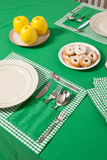 Laid table in green colour Stock Images