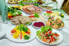Laid table with many dishes. On white plates royalty free stock images