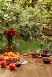 Laid table outdoors Royalty Free Stock Photo