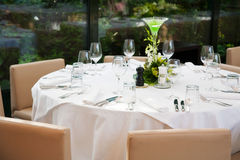 Laid table at reception Royalty Free Stock Image