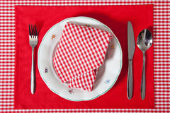 Laid table in red colour Stock Images