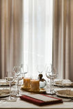 The laid table at restaurant Royalty Free Stock Photo