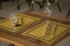 Laid table in a restaurant Stock Images
