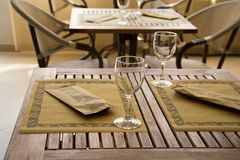 Laid table in a restaurant Royalty Free Stock Images