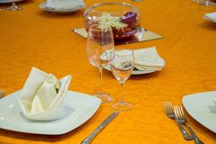 Laid table in a restaurant Royalty Free Stock Photography