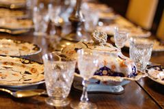 Laid table at Scotney castle royalty free stock photography