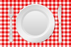 Laid table. Vector illustration of a laid table with an empty plate and checkered tablecloth stock illustration