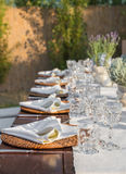 Laid tables for the gala dinner Royalty Free Stock Photo