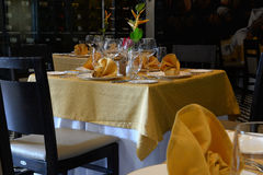 Laid tables in a restaurant Royalty Free Stock Photography