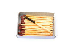 Laid used matchsticks Stock Photos