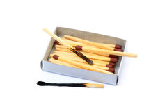 Laid used matchsticks Stock Images