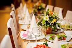 laid wedding banquet table Stock Photo