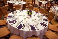 Laid wedding table. Overhead view of laid table at luxurious wedding reception royalty free stock photography