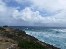 Laie punkthalvö, Oahu, Hawaii Arkivbilder