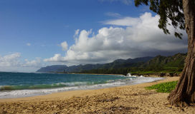 Laie strand Oahu Hawaii Arkivfoto