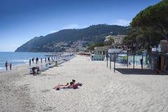 Laigueglia Sandy Beach stock image