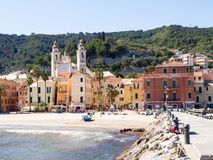 Laigueglia, view from the sea royalty free stock image