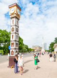 Laima Clock on the square near the Freedom Monument in Riga, Latvia Stock Photos