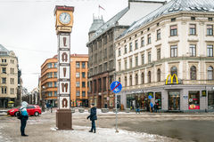 Laima-Uhr in Riga, Lettland Lizenzfreies Stockfoto