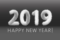 Laine hirsute velue blanche floconneuse 2019 bonnes années Fond noir Art d'illustration de vecteur illustration de vecteur