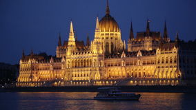 Lainer passing by House of the Country, Budapest stock video footage