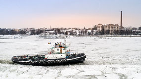 LAINICI icebreaker, break the ice on the Danube Stock Photos