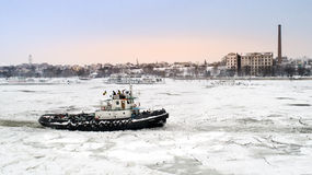LAINICI icebreaker, break the ice on the Danube Royalty Free Stock Photography