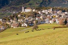 Laiondorp, Southtyrol, Italië stock foto