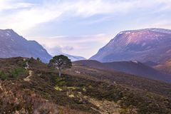 Lairig Ghru Mountain Pass in Cairngorms. Lairig Ghru Mountain Pass in the Cairngorms National Park in Scotland, in May Stock Image