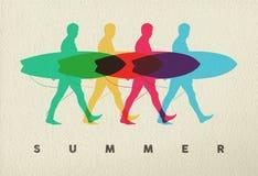 Laisse le ressac sur la conception de l'avant-projet de surfer d'homme de plage Photographie stock libre de droits