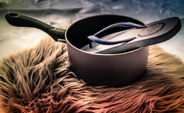 Laisse manger la sandale photographie stock