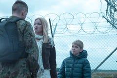 Laisser la famille pour l'armée Photo libre de droits