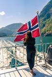 Laisser le port de Flam en Norvège photo libre de droits