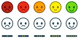 Laissez la rétroaction L'échelle de satisfaction avec des smiley de couleur se boutonne illustration libre de droits