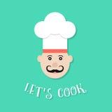 Laissez le lettrage de cuisinier du ` s avec le chef Image libre de droits