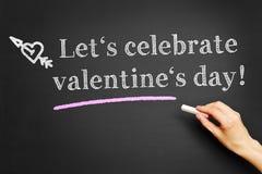 Laissez le ` s célébrer le jour du ` s de Valentine ! Photographie stock libre de droits