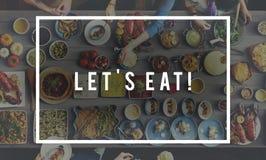 Laissez le ` s manger le concept délicieux de célébration de partie de consommation de nourriture photographie stock