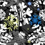 Laissez lui neiger, modèle expressif d'encre d'hiver de métier sans couture de main illustration stock