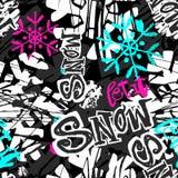 Laissez lui neiger, modèle expressif d'encre d'hiver de métier sans couture de main illustration de vecteur