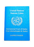 Laissez-passer. United Nation, International Court of Justice Laissez-passer isolated on white royalty free stock photo